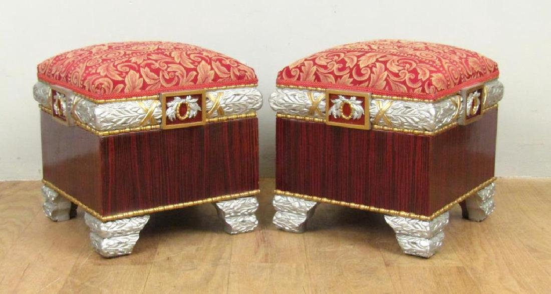 Pair Hollywood Regency Square Footstools