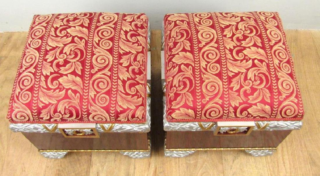 Pair Hollywood Regency Square Footstools - 2
