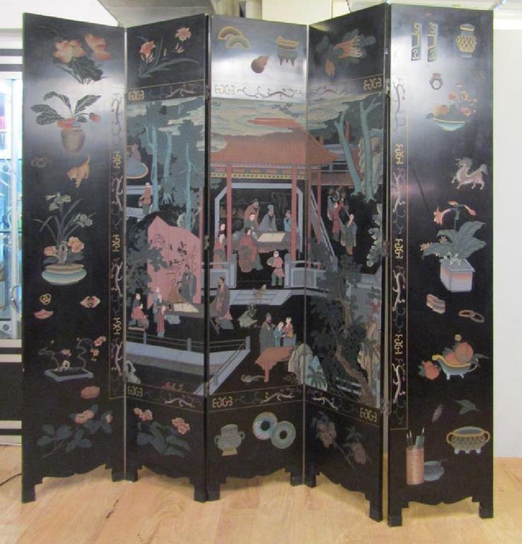 Chinese 5 Panel Coromandel Screen