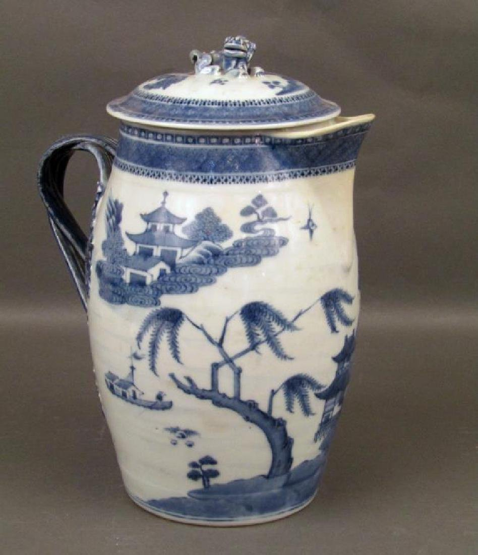 Chinese Blue and White Covered Pitcher