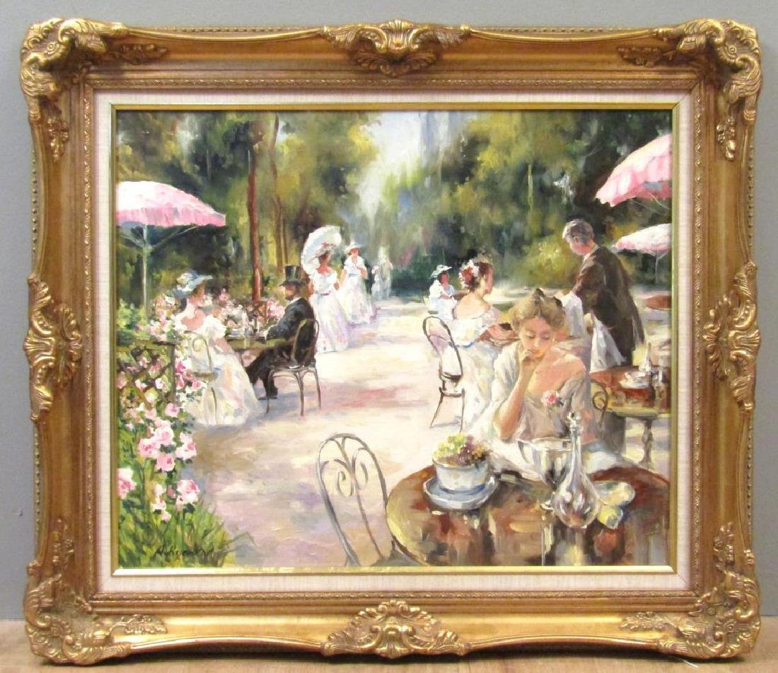 Framed Giclee on Canvas - Garden Scene - 2