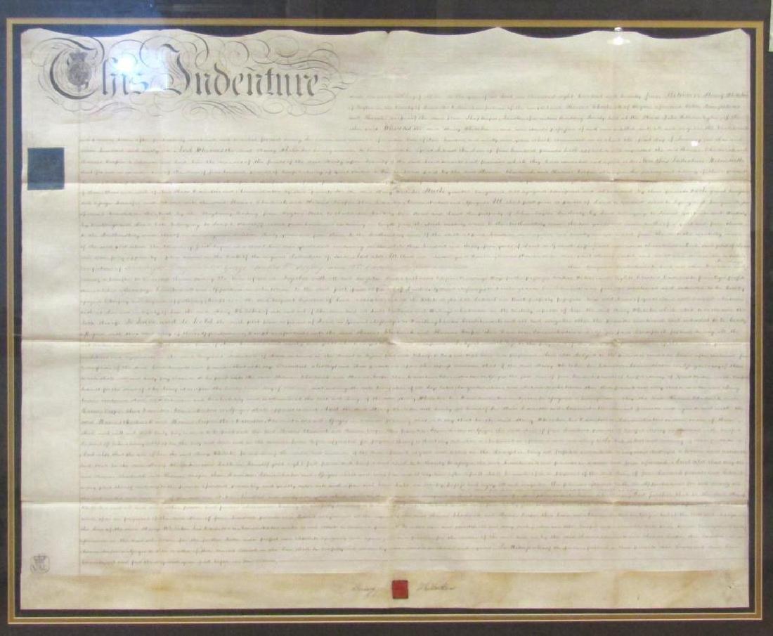 Large Framed Indenture Document