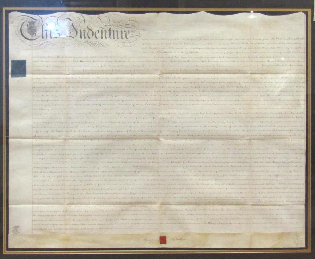 Large Framed Indenture Document