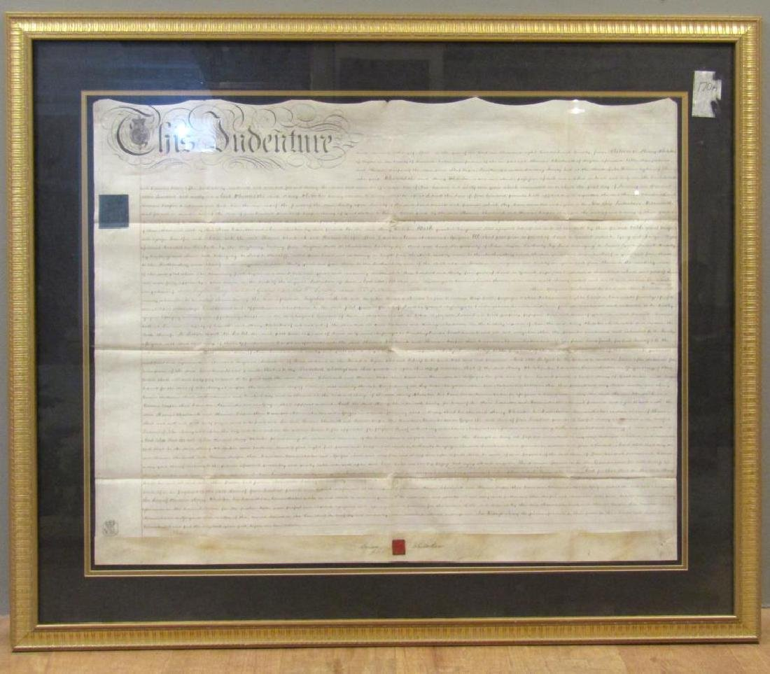 Large Framed Indenture Document - 2