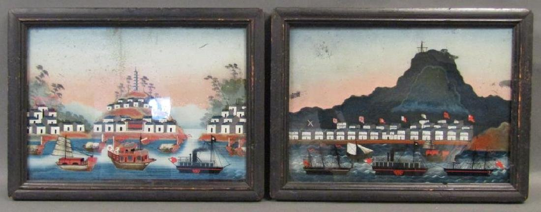 Pair Antique Chinese Reverse Paintings
