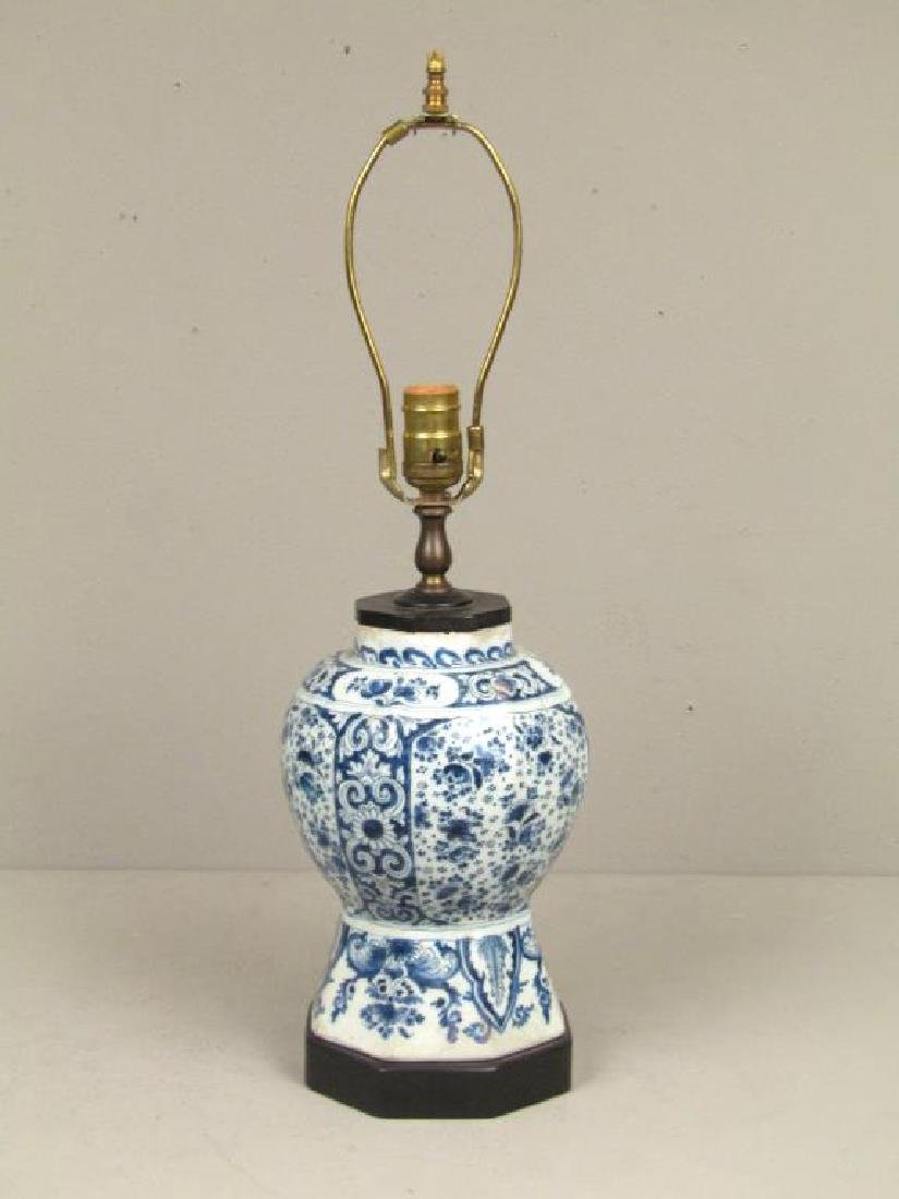 Small Antique Chinese Blue and White Table Lamp