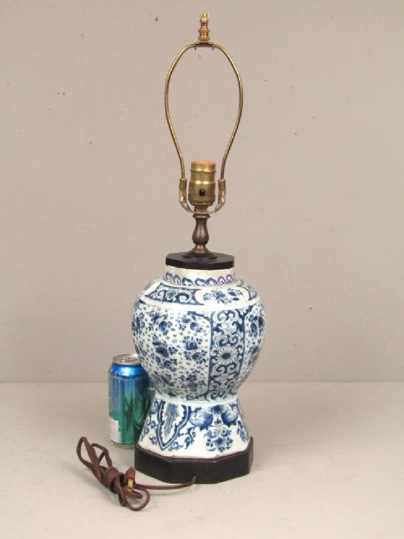 Small Antique Chinese Blue and White Table Lamp - 2