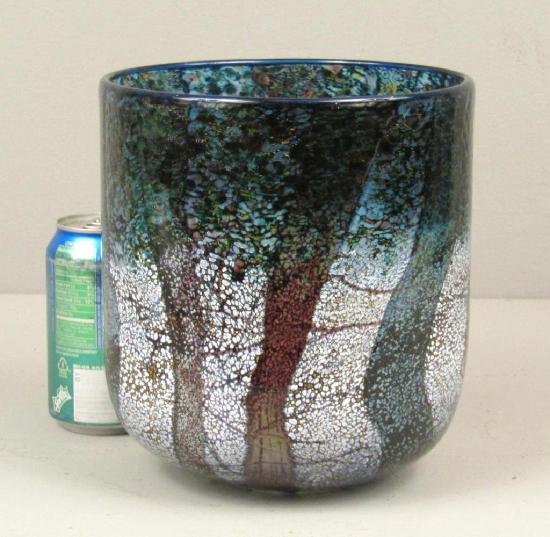 Colorful Signed Art Glass Vase - 2