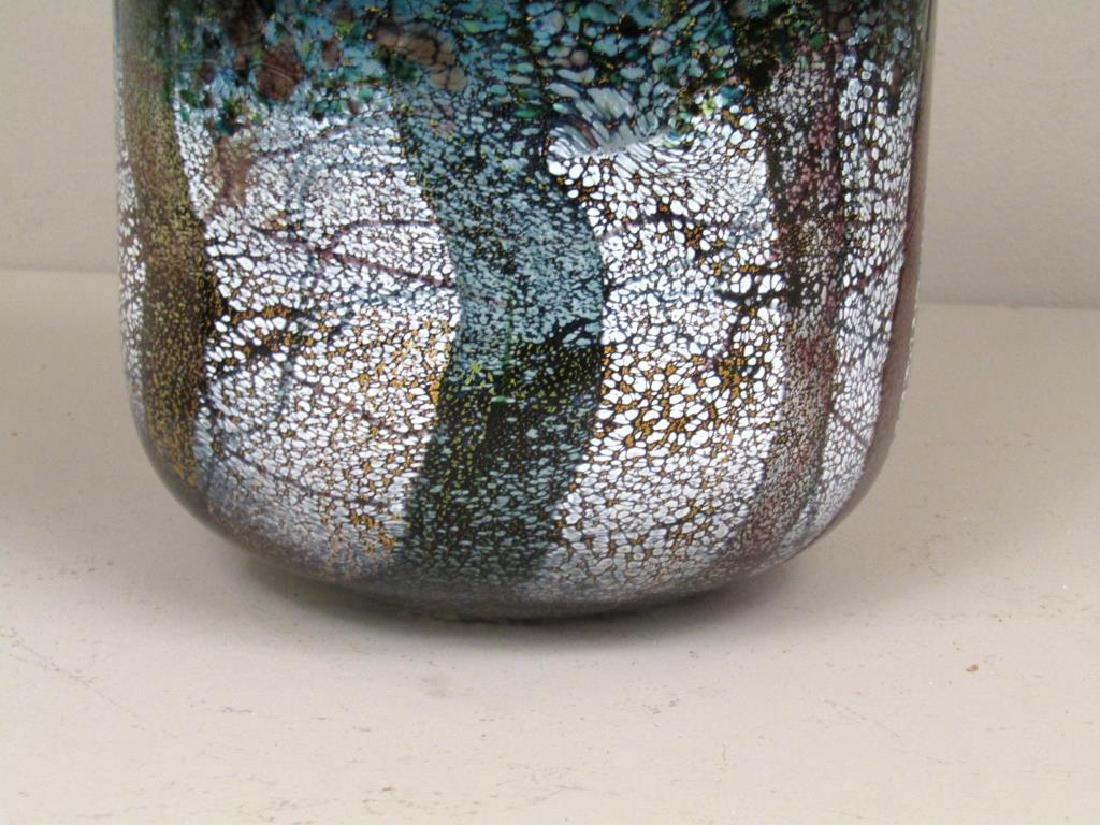 Colorful Signed Art Glass Vase - 5