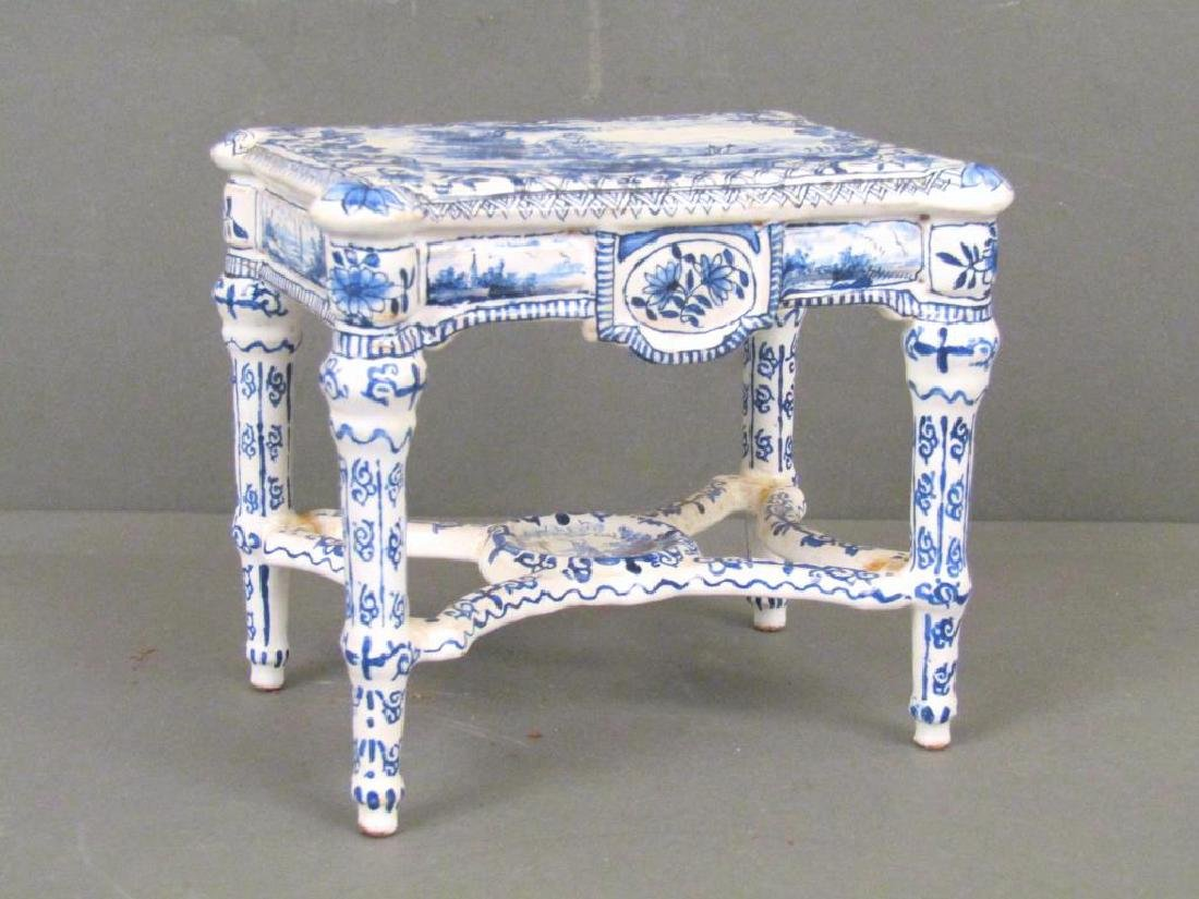 Antique Delft Miniature Center Table (as is)