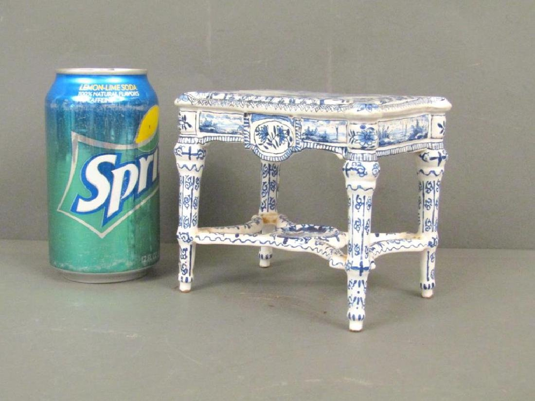 Antique Delft Miniature Center Table (as is) - 8