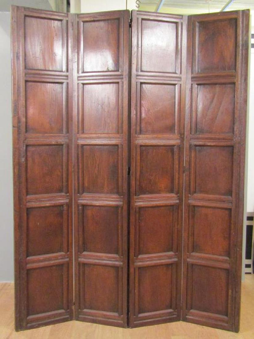 Antique French 4 Panel Oak Screen