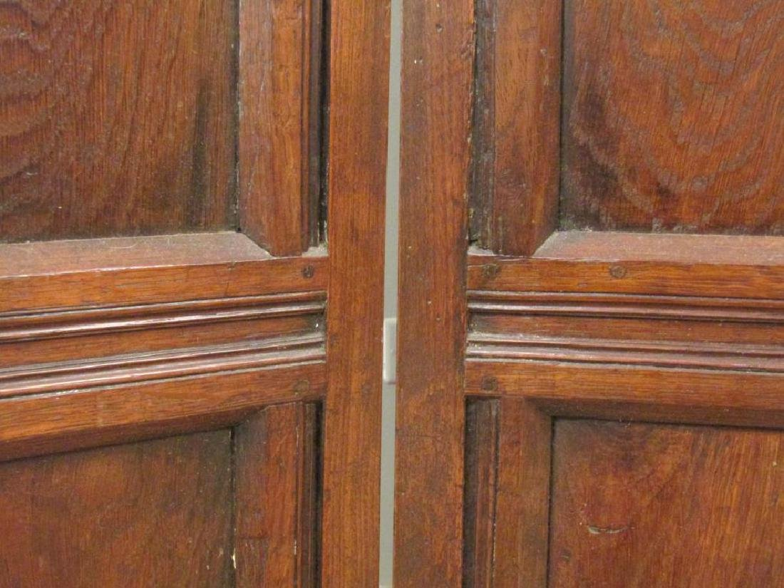 Antique French 4 Panel Oak Screen - 3