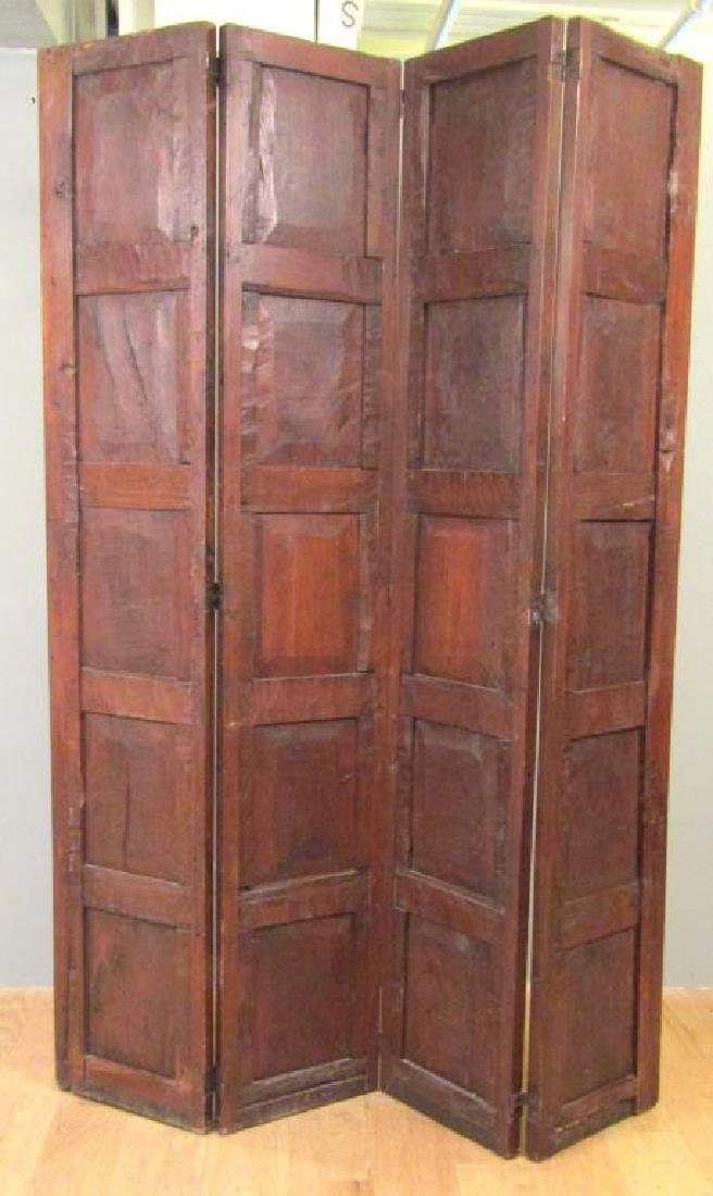 Antique French 4 Panel Oak Screen - 5