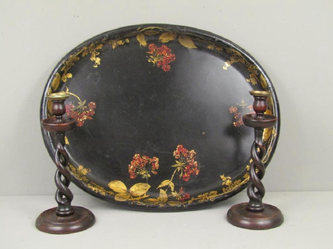 Papier Mache Tray with Pair Candlesticks