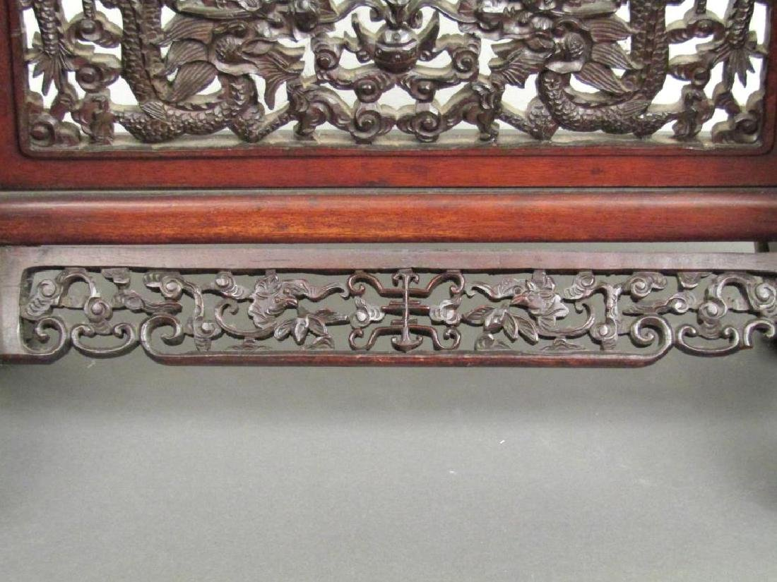 Chinese Carved Wood Gong Stand - 7