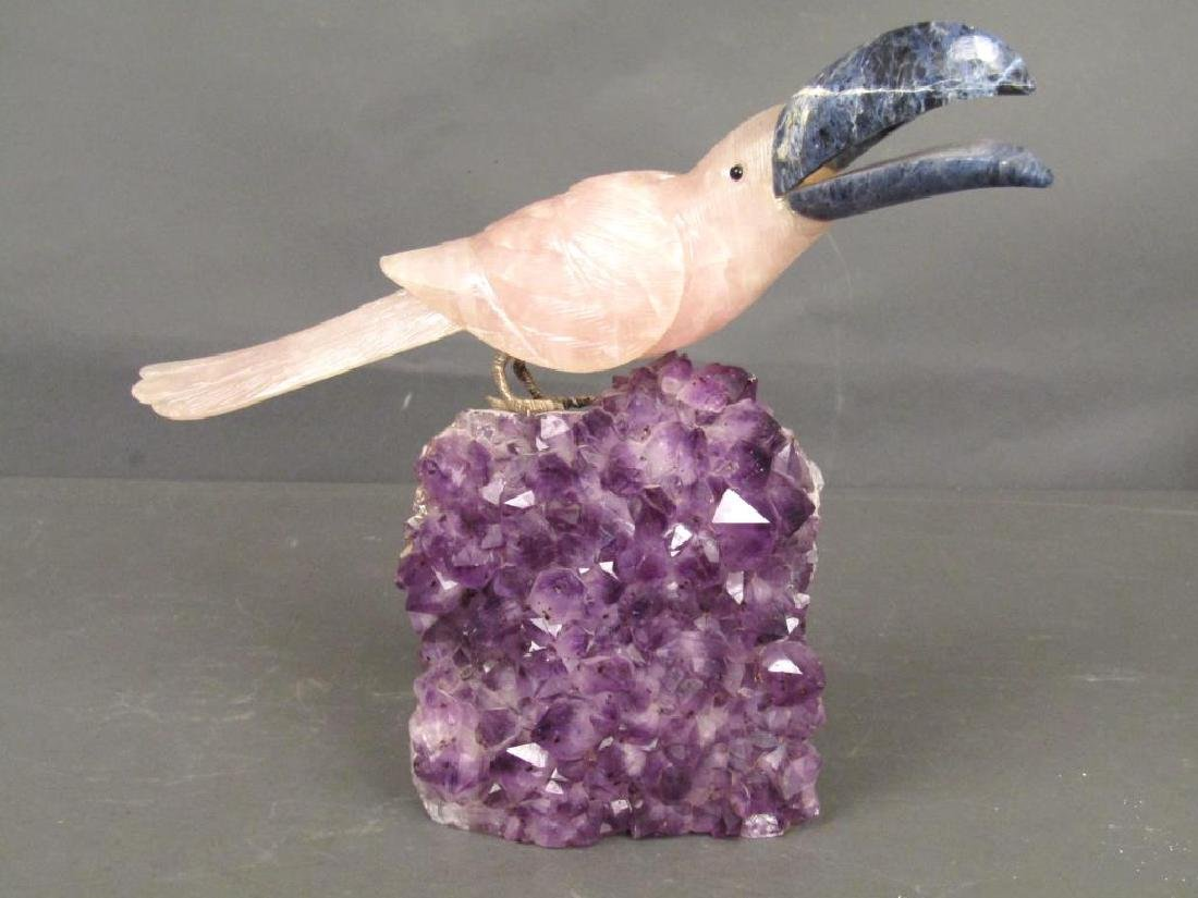 Rose Quartz and Amethyst Bird Group
