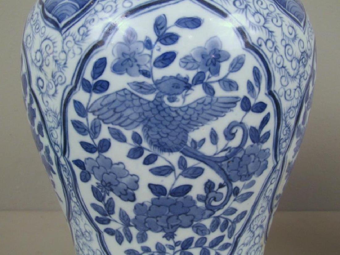 Pair Chinese Blue and White Vases - 5