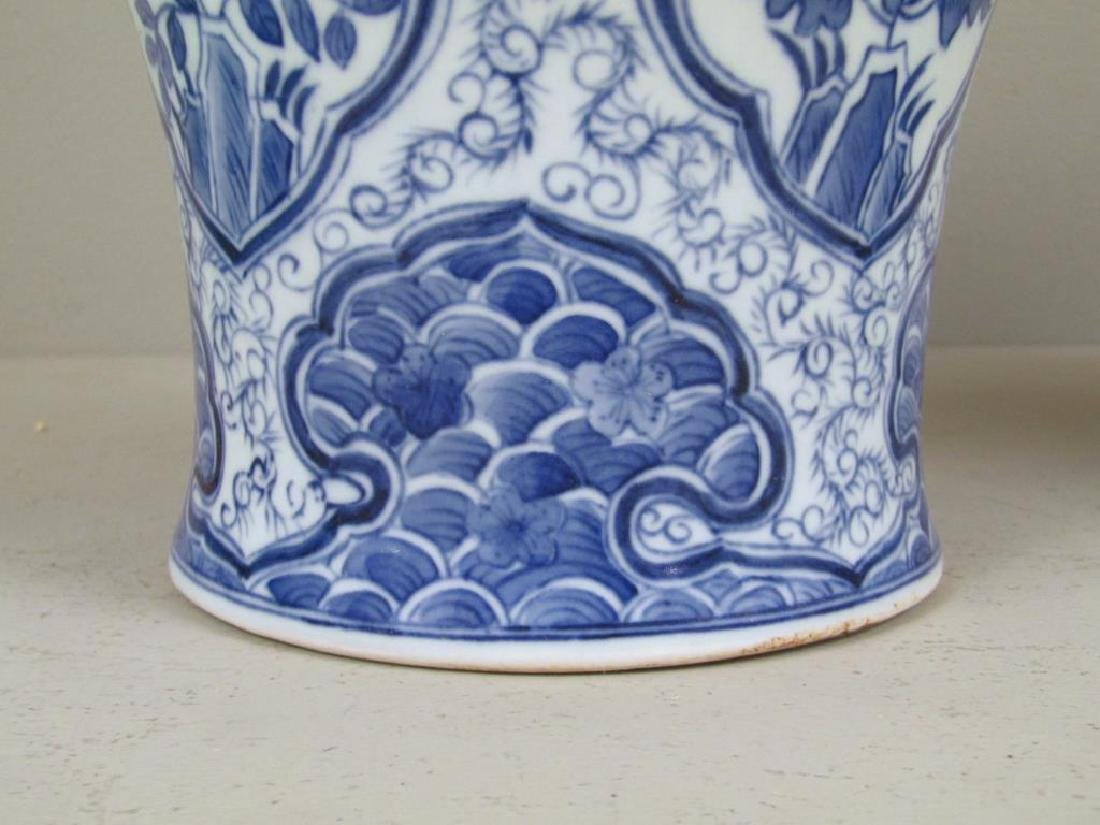Pair Chinese Blue and White Vases - 6