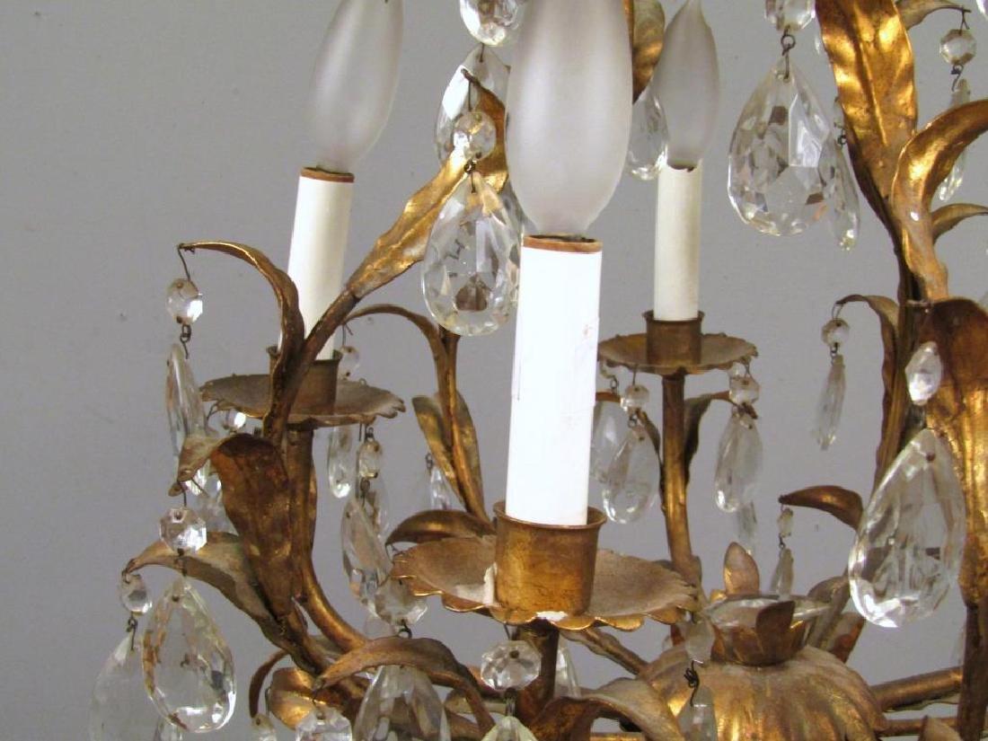 Hollywood Regency 5 Light Tole Chandelier - 3