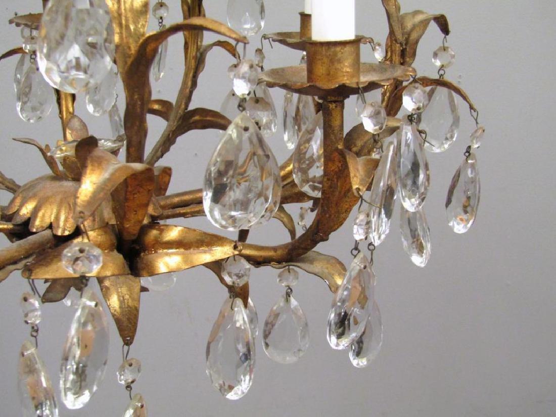 Hollywood Regency 5 Light Tole Chandelier - 4