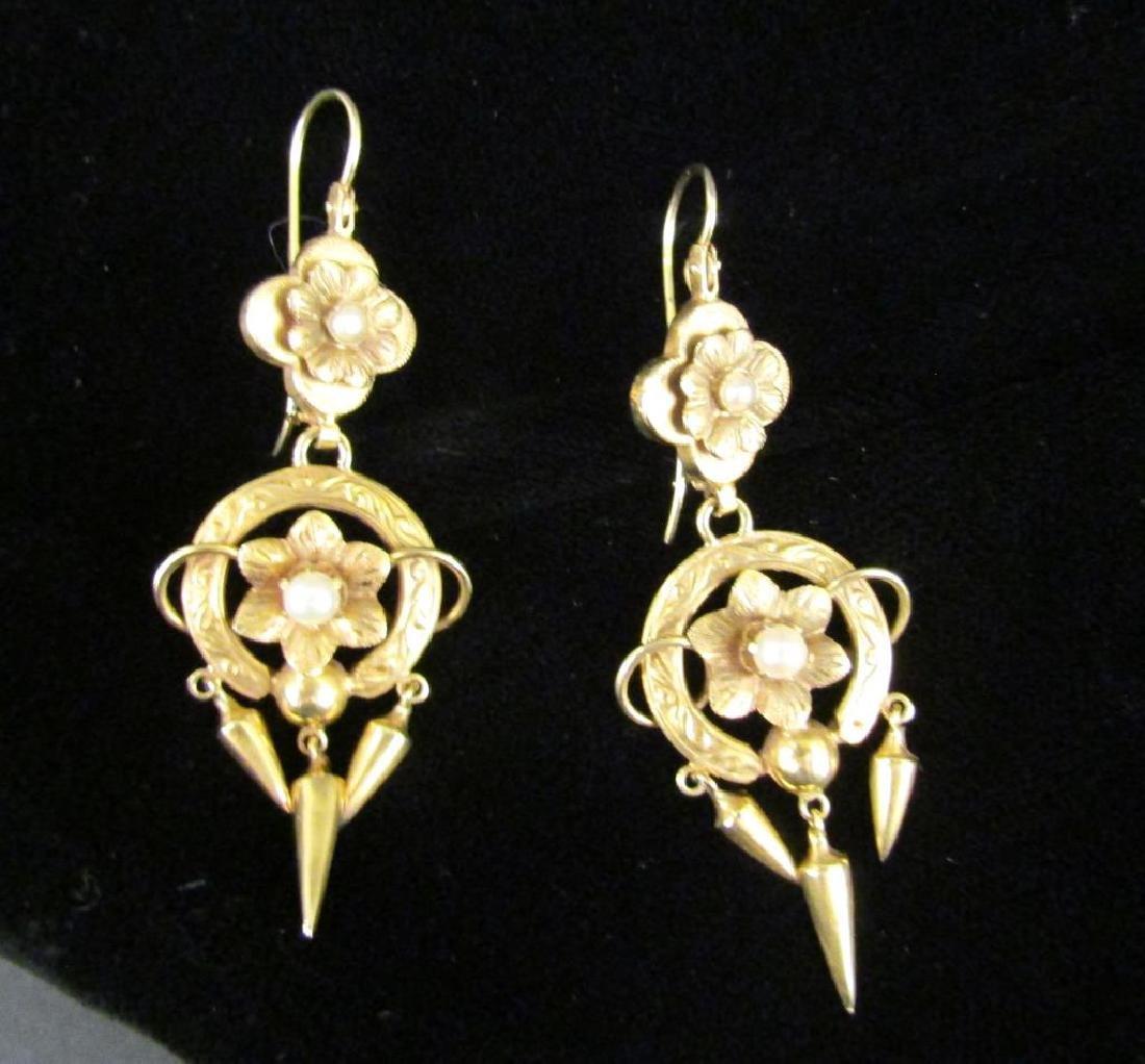 Pair Victorian 14K Gold Earrings