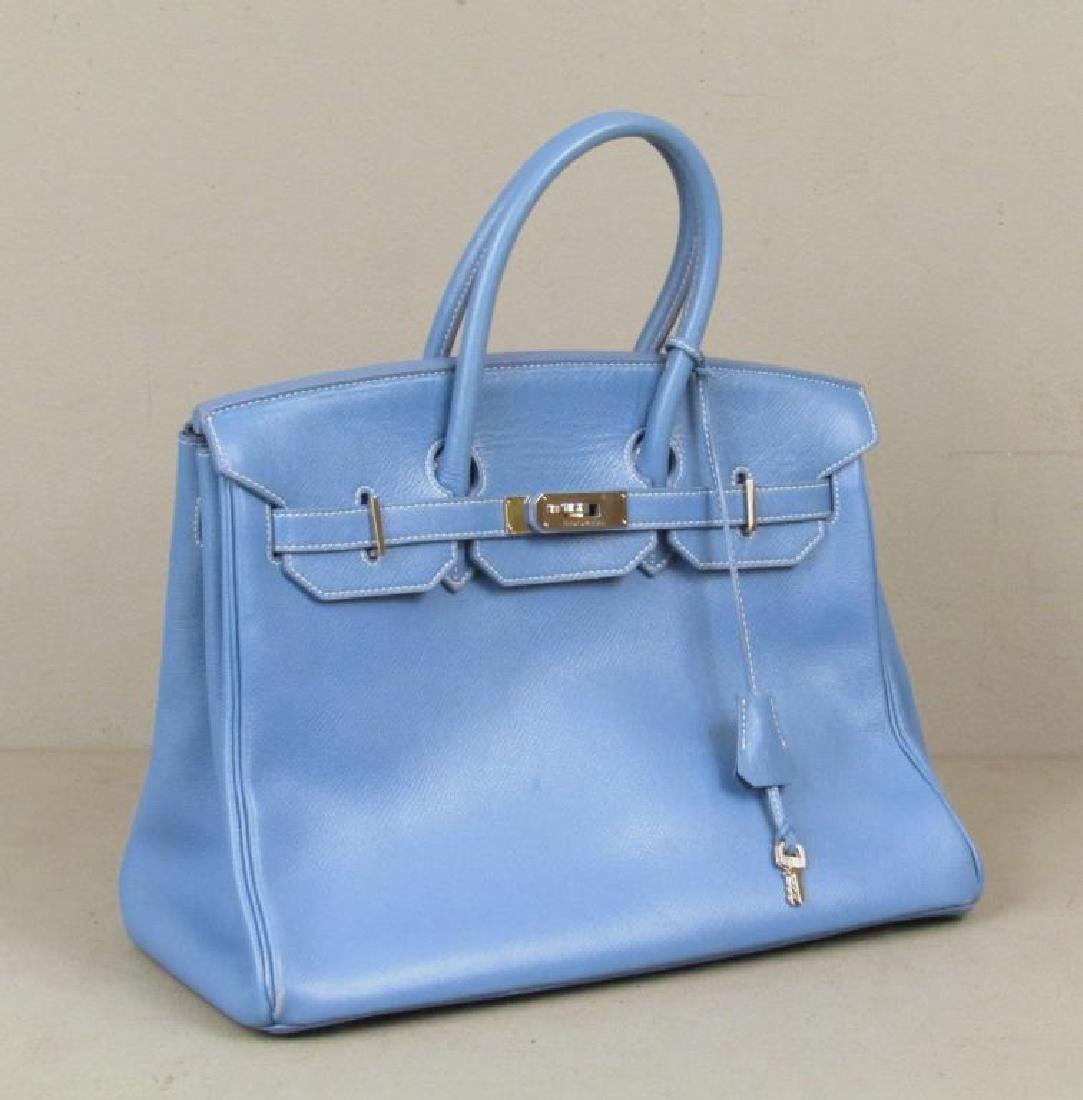Hermes Blue Birken Handbag, Circa 1996