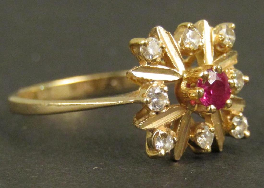 14K Gold Ruby and Diamond Ring - 2