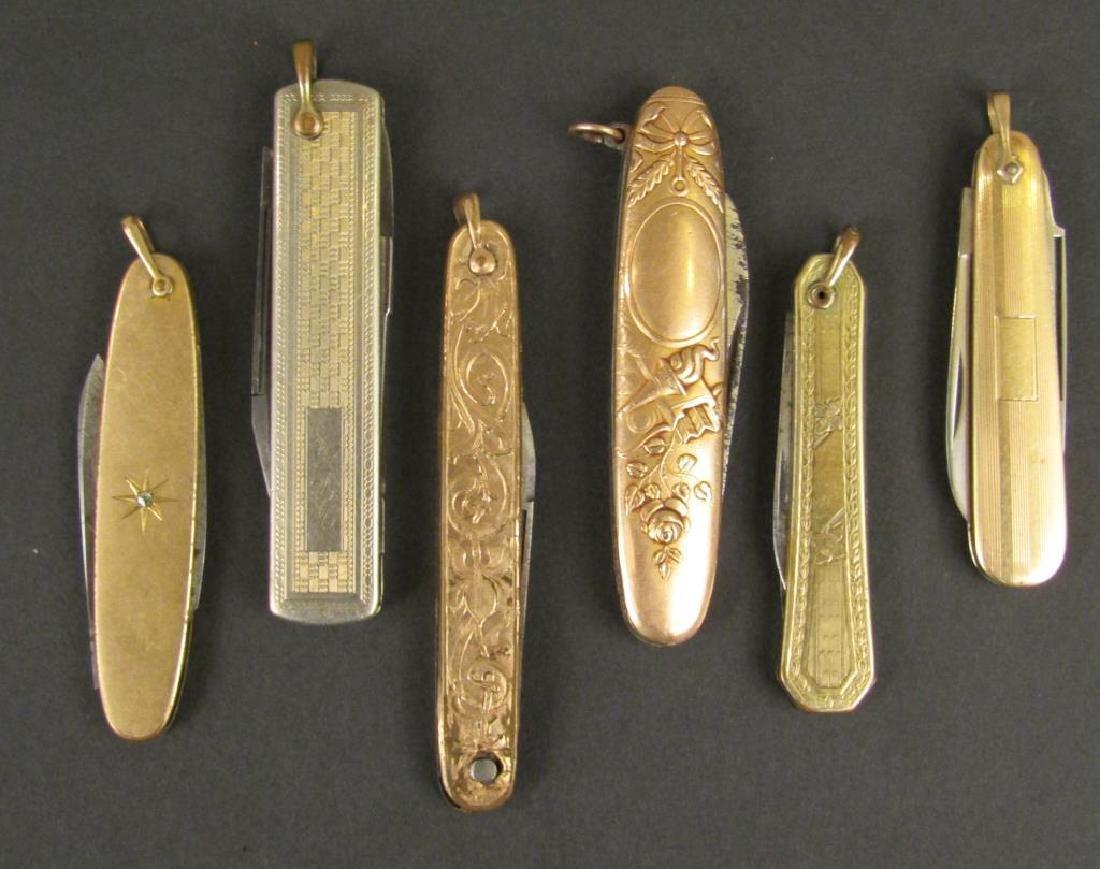 6 Gold Filled Pocket Knives