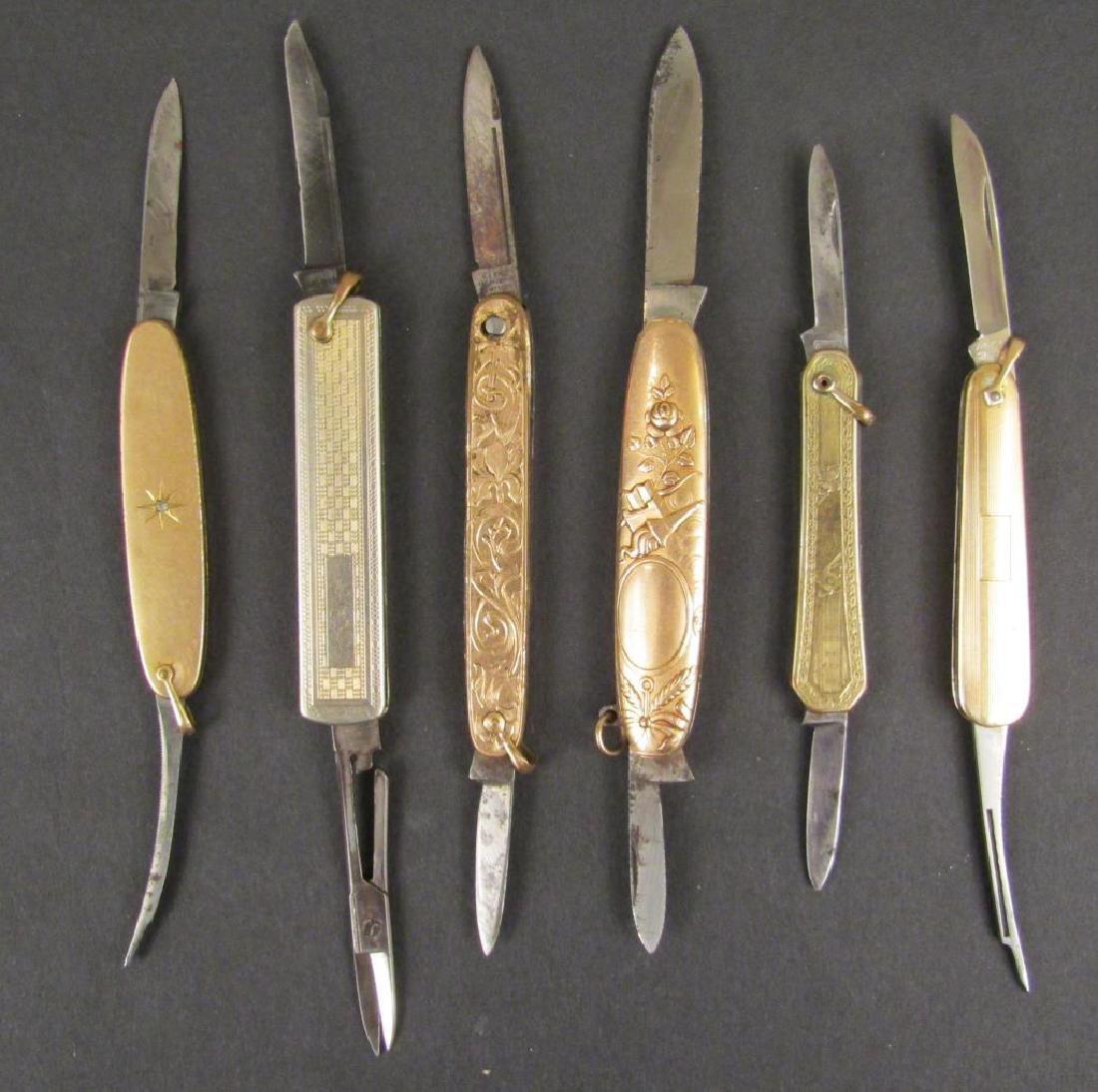 6 Gold Filled Pocket Knives - 2