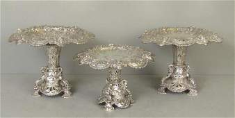 3 Piece English Silver Coupe Garniture