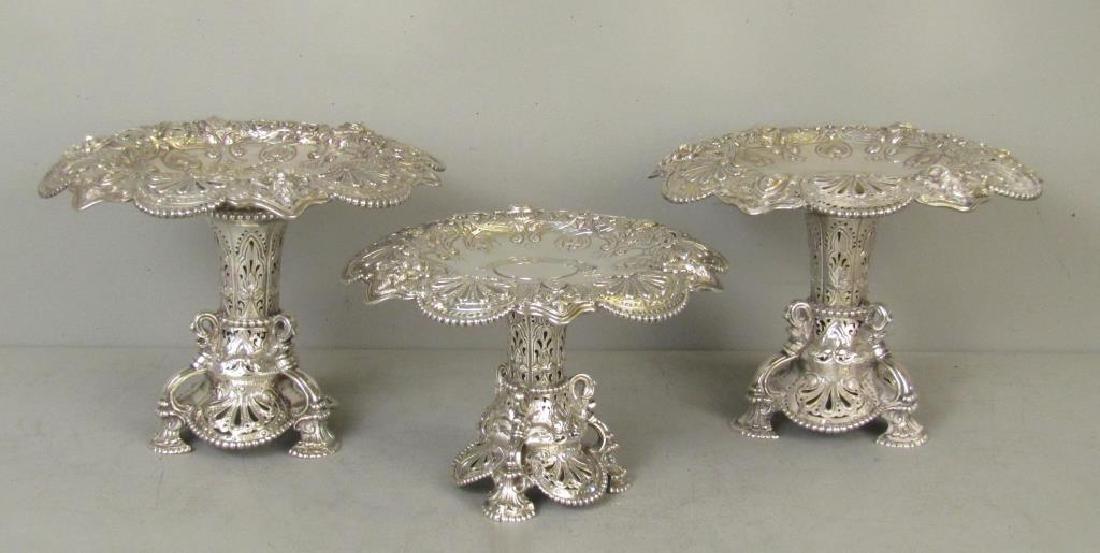 3 Piece English Silver Coupe Garniture