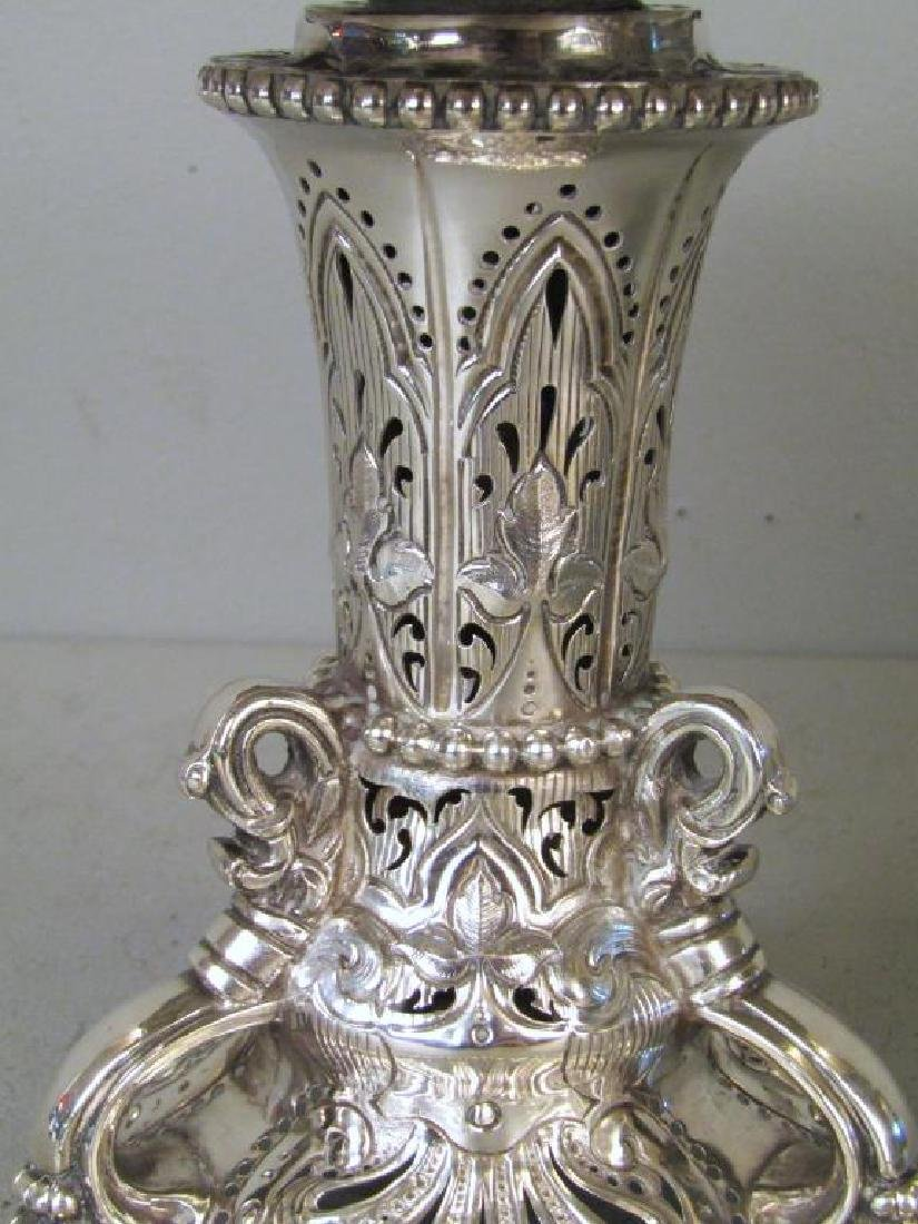 3 Piece English Silver Coupe Garniture - 5
