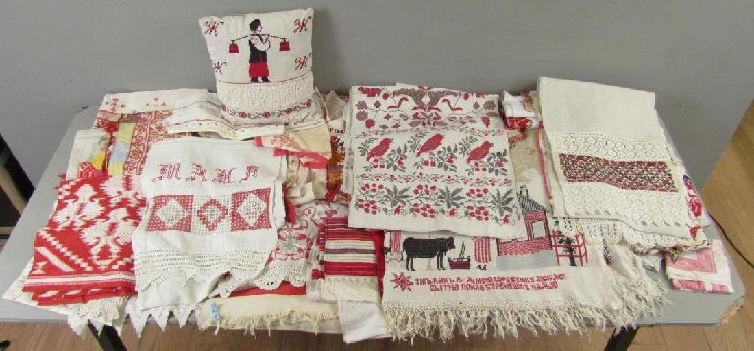 Assorted Russian Embroidered Textiles