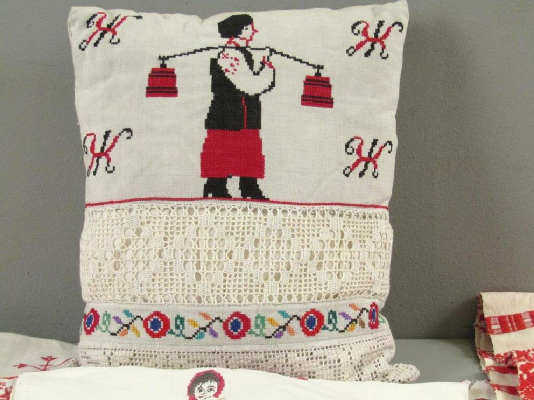 Assorted Russian Embroidered Textiles - 4