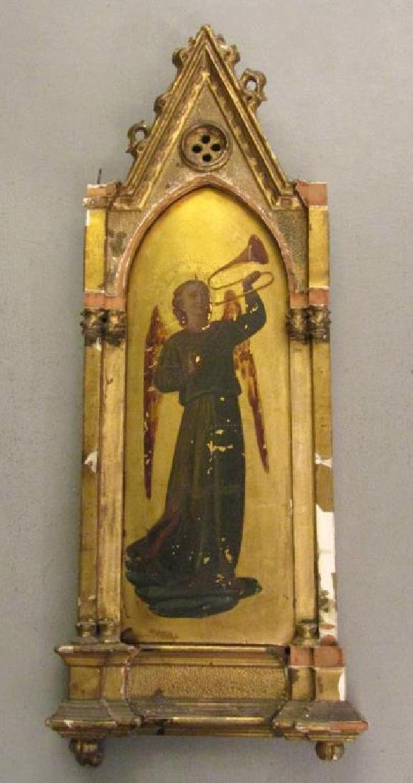 Antique Painted and Gilt Wood Icon