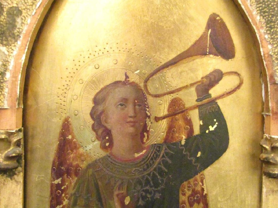 Antique Painted and Gilt Wood Icon - 3