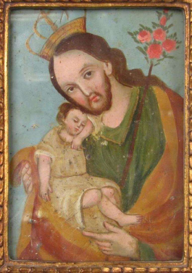 Small Antique Painted Tin Icon