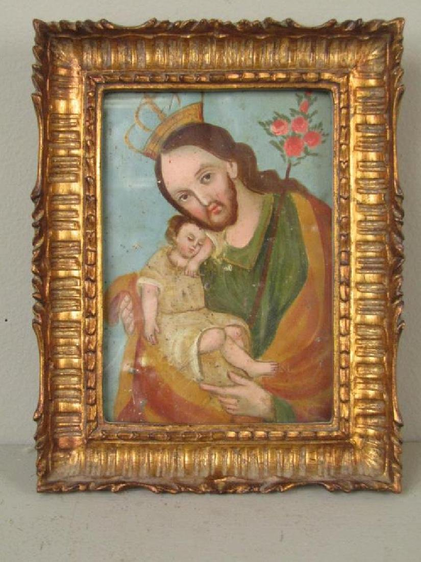 Small Antique Painted Tin Icon - 2