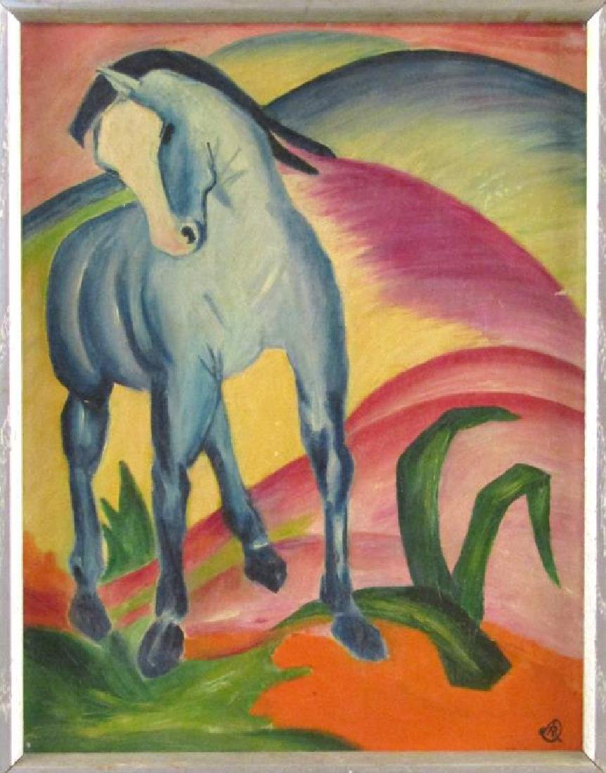 In the Manner of Franz Marc - Oil on Canvas Board