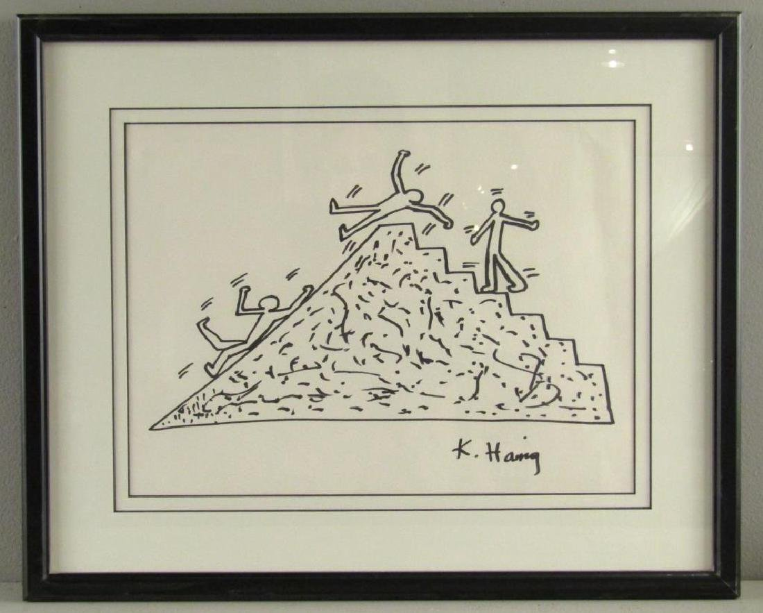 Signed Keith Haring - Ink on Paper - 2