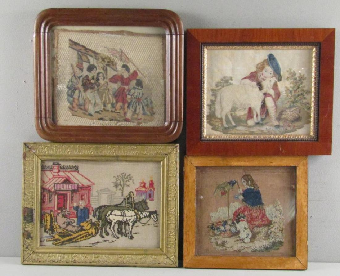 4 Antique Russian Needlepoint Fragments