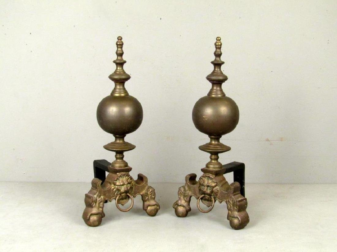 Pair English Brass Andirons