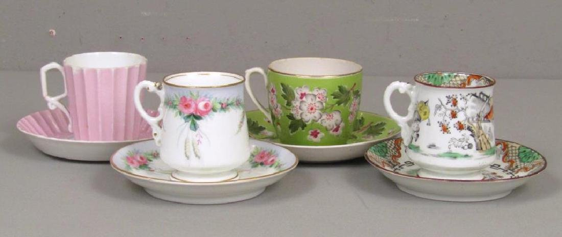 4 Russian Cups and Saucers