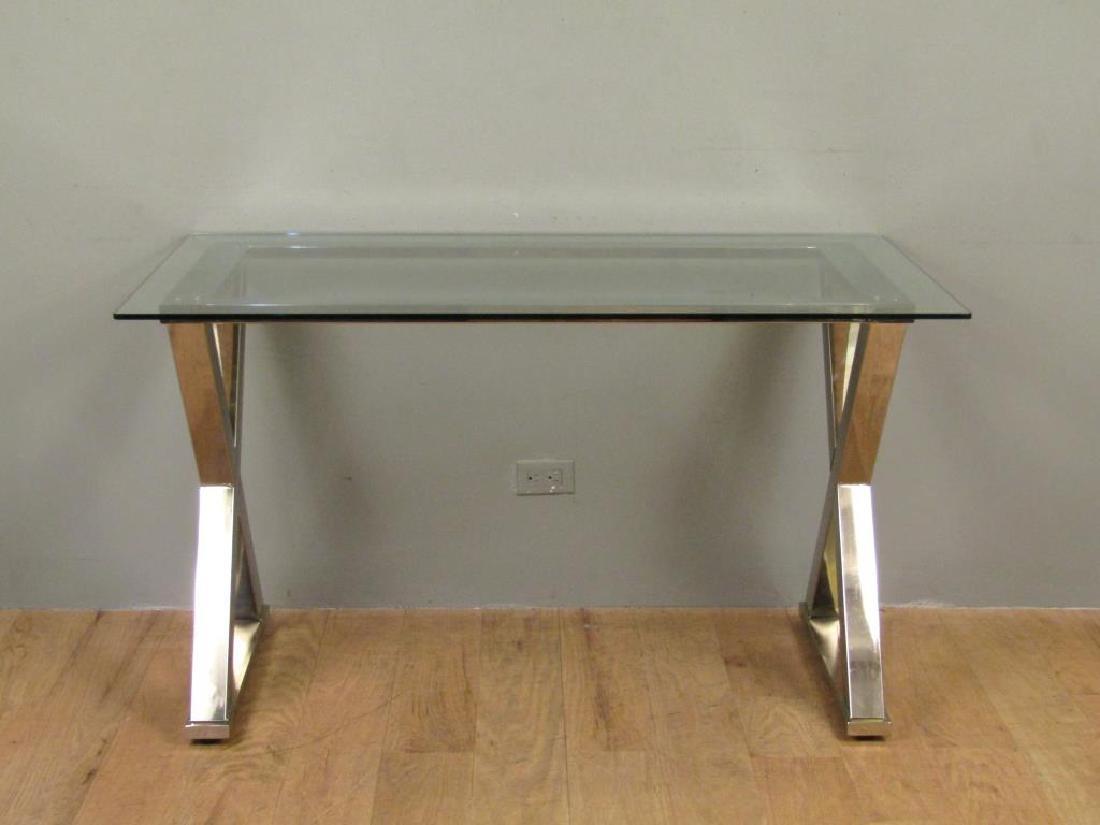 Modern Chrome and Glass Top Desk
