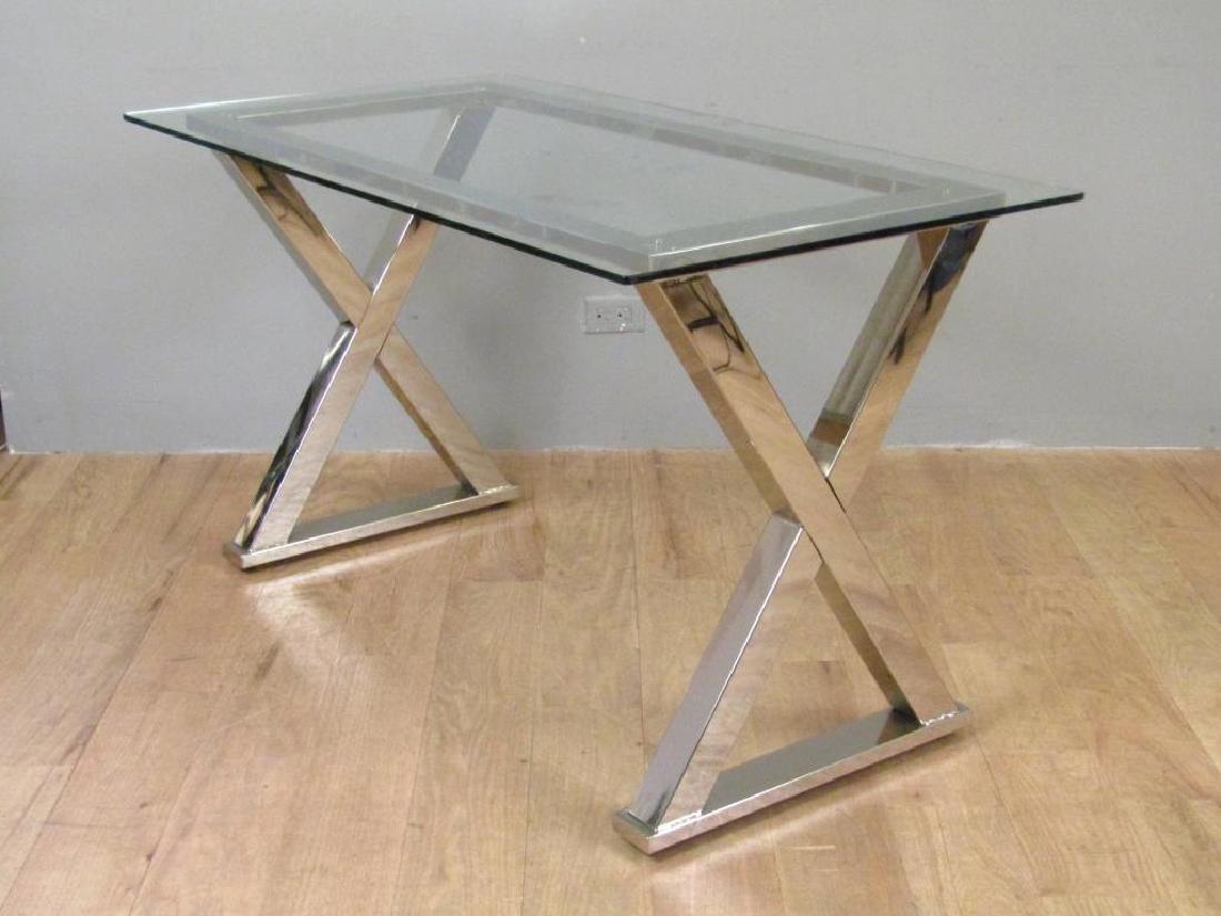 Modern Chrome and Glass Top Desk - 2
