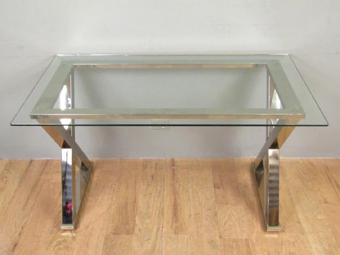Modern Chrome and Glass Top Desk - 3