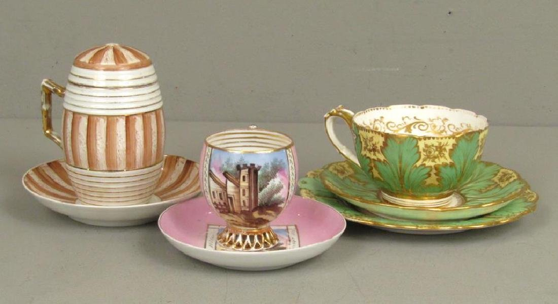 3 Porcelain Cups and Saucers (as is)