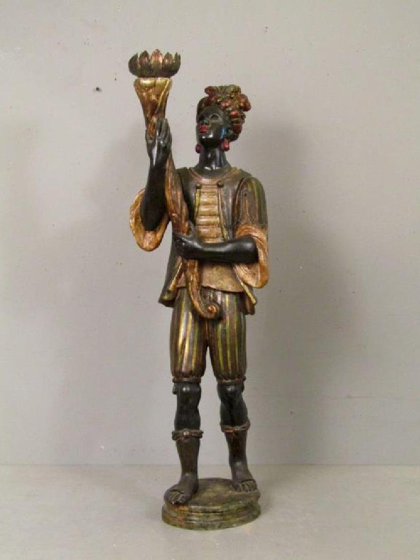 Gilt and Painted Blackamoor Torchiere