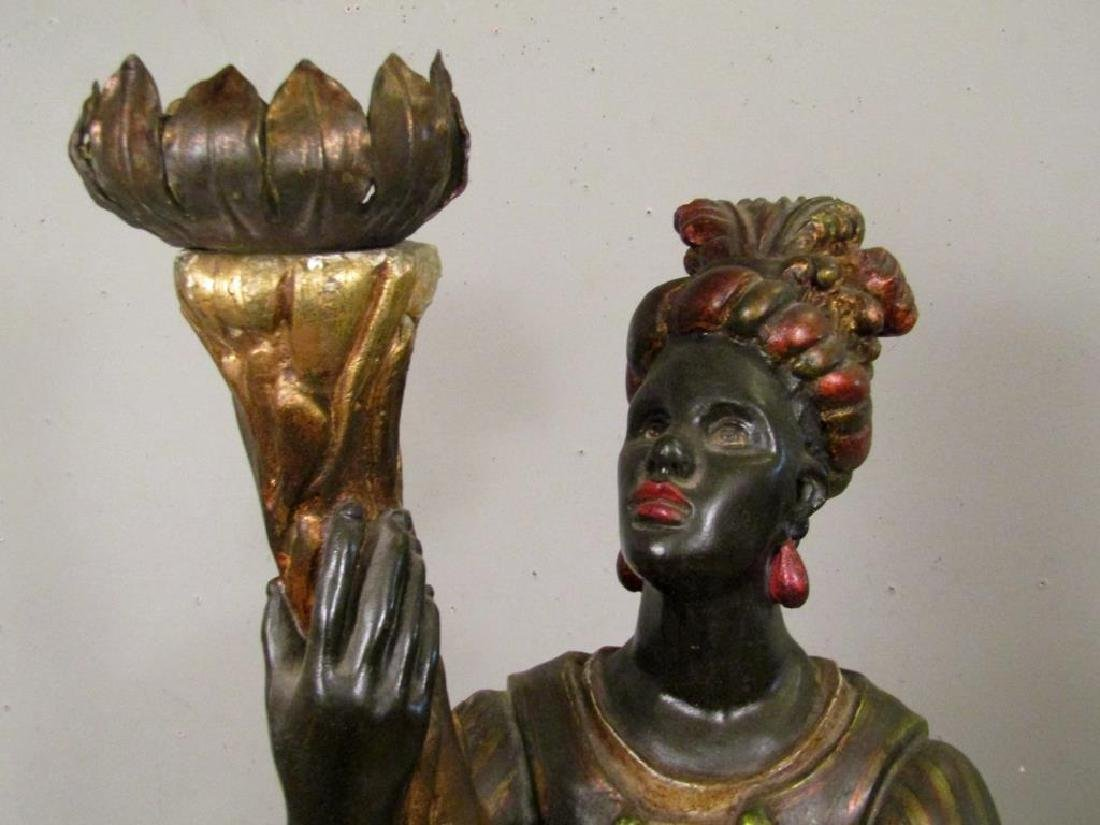 Gilt and Painted Blackamoor Torchiere - 3